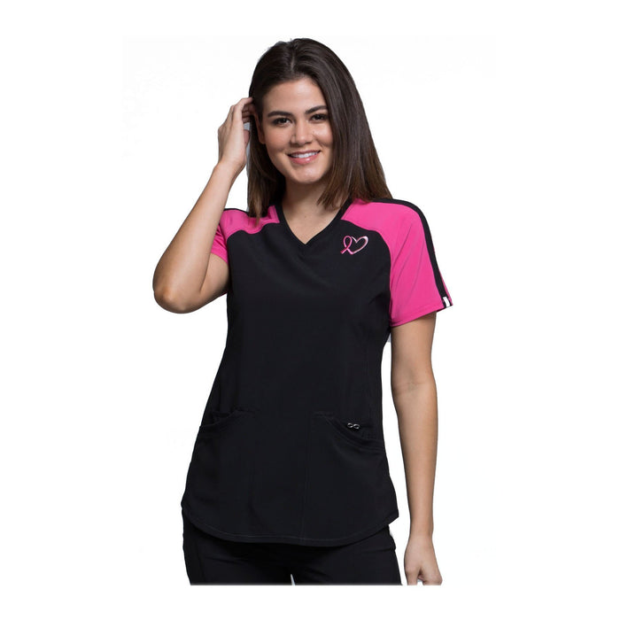 Cherokee Scrub Top Infinity Breast Cancer Awareness V-Neck Colorblock Top Black Top