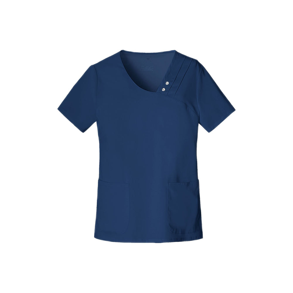 Cherokee Scrub Top Luxe Crossover V-Neck Pin-Tuck Top Navy Top