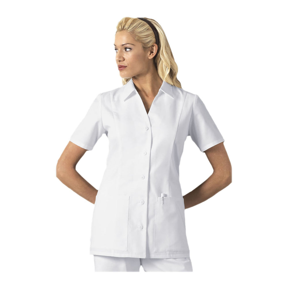 Cherokee Scrub Top Professional Whites Button Front Top White Top