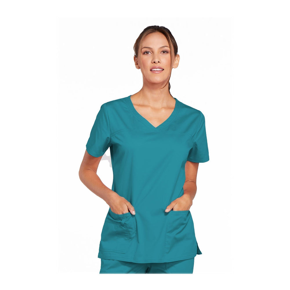 Cherokee Scrubs Workwear 4727 WW Core Stretch Top Modern Classic Teal Top