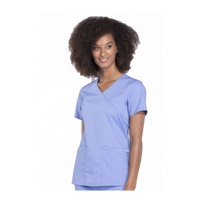 Cherokee Scrubs Workwear WW655 WW Professionals Top Modern Classic Ciel Blue Top
