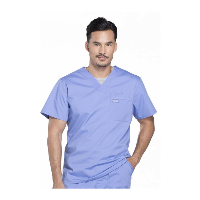 Cherokee Scrubs Workwear WW675 WW Professionals Mens Top Mens Ciel Blue Top