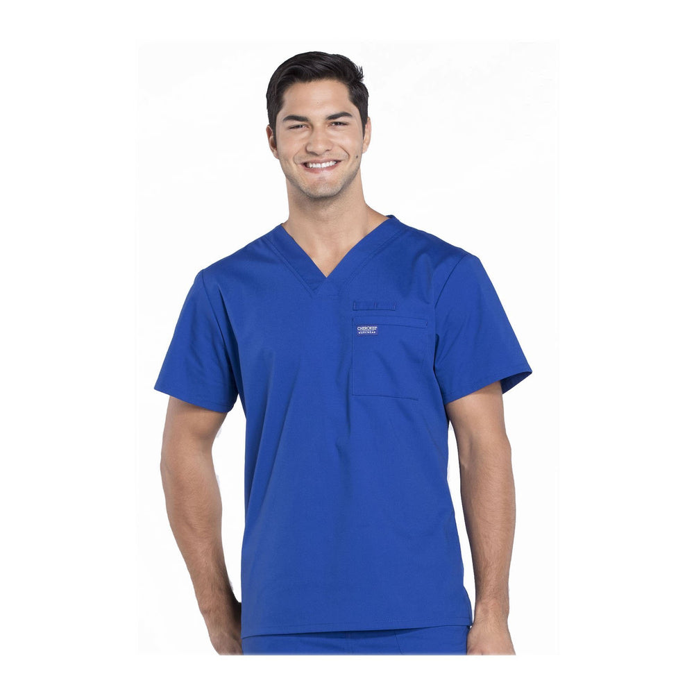 Cherokee Scrubs Workwear WW675 WW Professionals Mens Top Mens Galaxy Blue Top