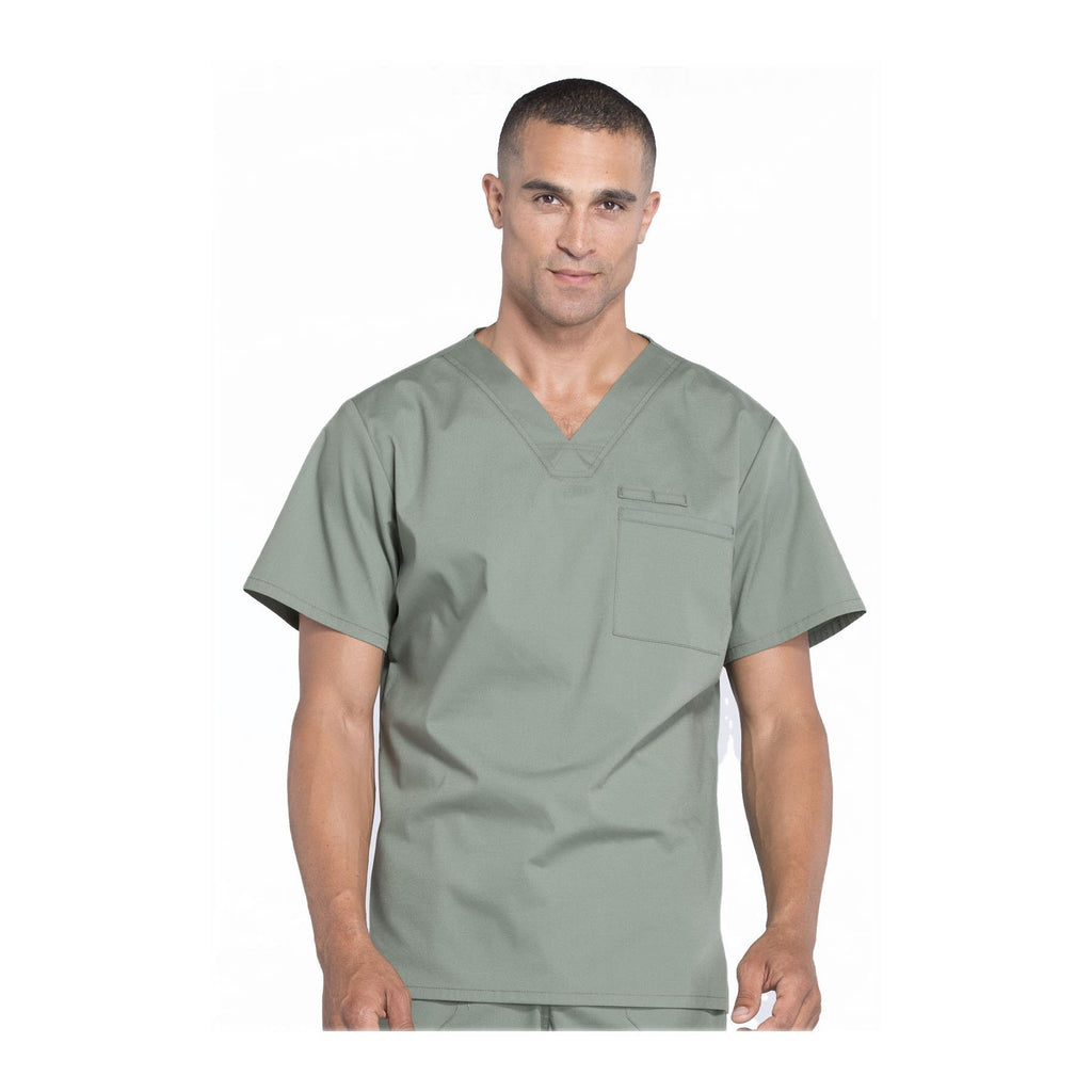 Cherokee Scrubs Workwear WW675 WW Professionals Mens Top Mens Olive Top