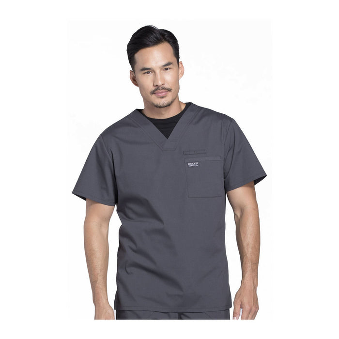 Cherokee Scrubs Workwear WW675 WW Professionals Mens Top Mens Pewter Top