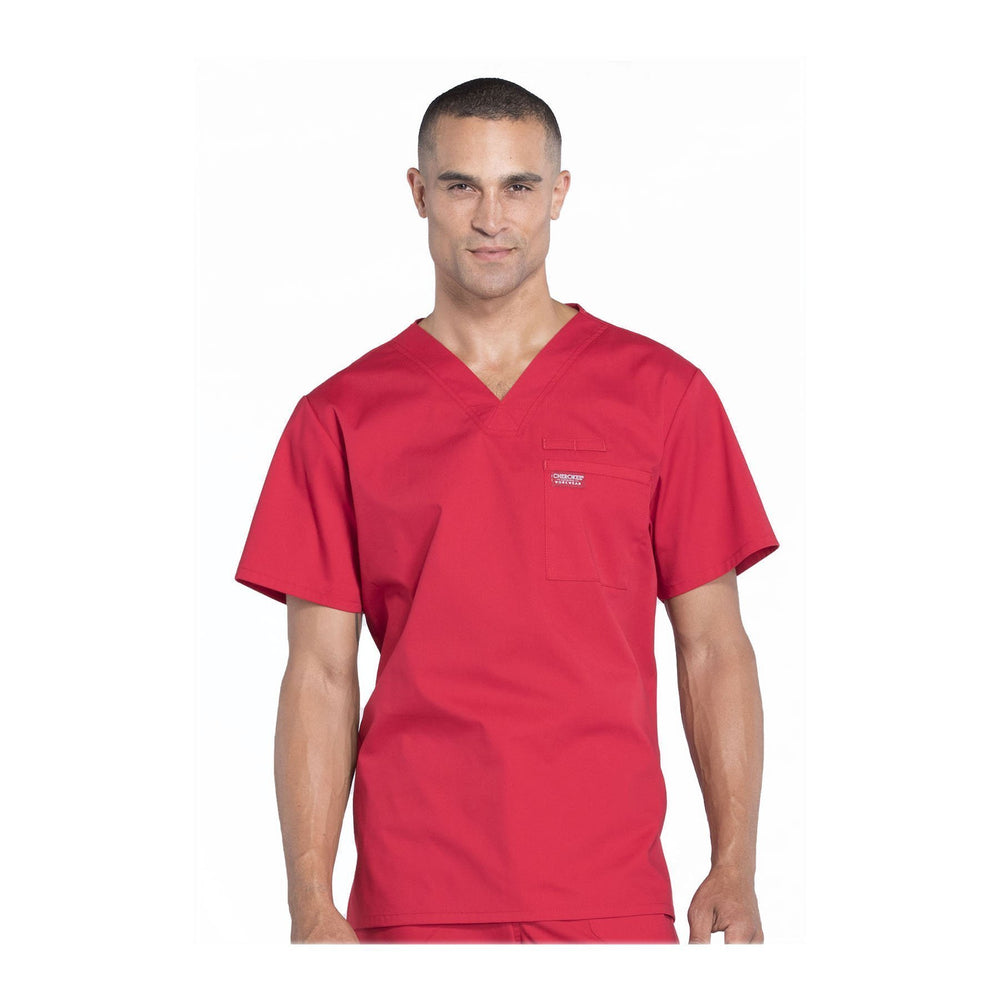 Cherokee Scrubs Workwear WW675 WW Professionals Mens Top Mens Red Top