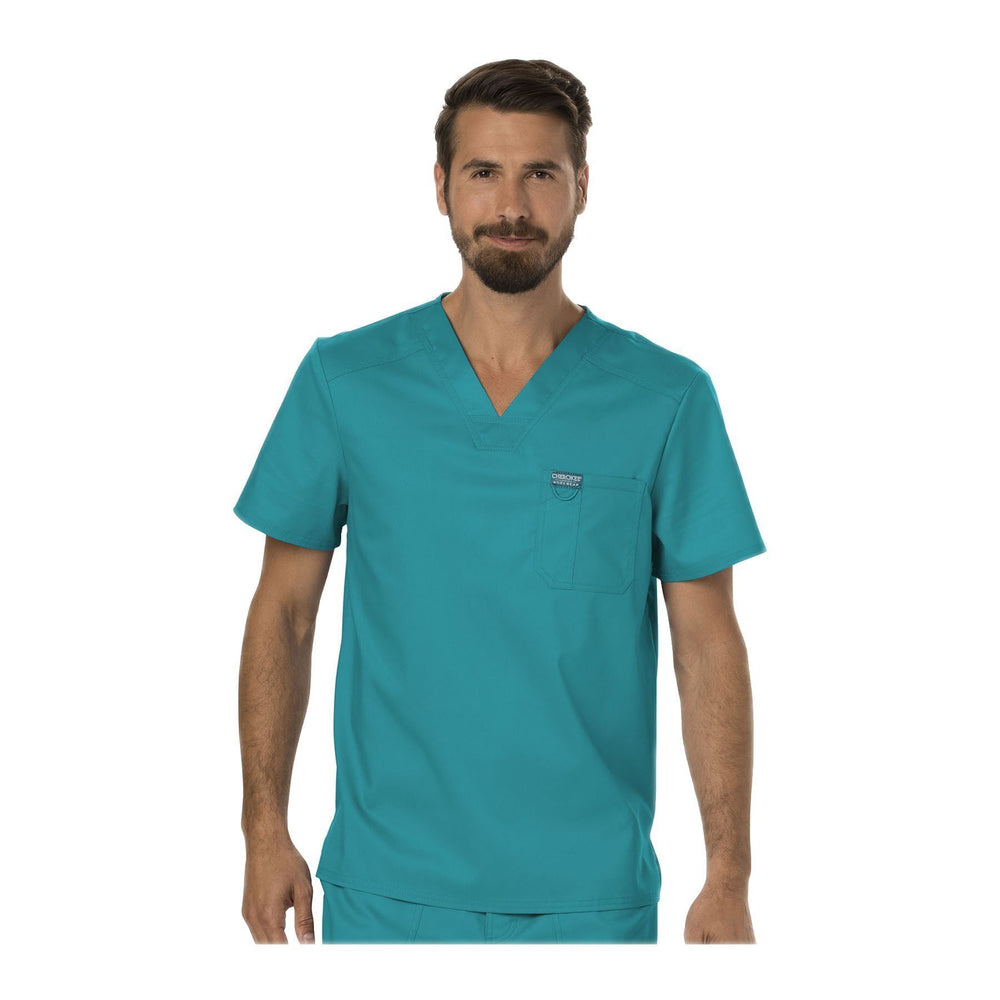 Cherokee Scrubs Workwear WW690 WW Revolution Mens Top Mens Teal Top