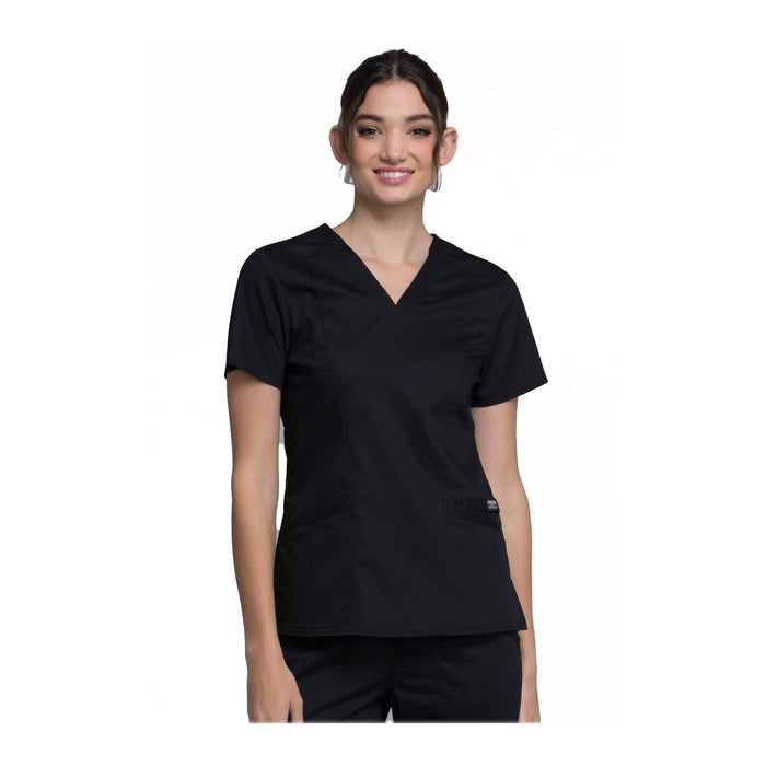 Cherokee Scrubs Workwear WW710 WW Revolution Top Modern Classic Black Top