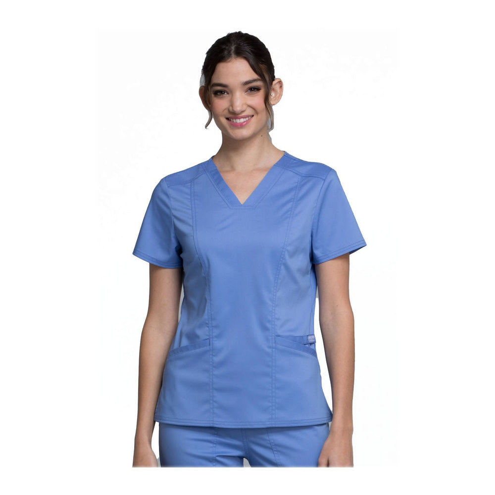 Cherokee Scrubs Workwear WW710 WW Revolution Top Modern Classic Ciel Blue Top