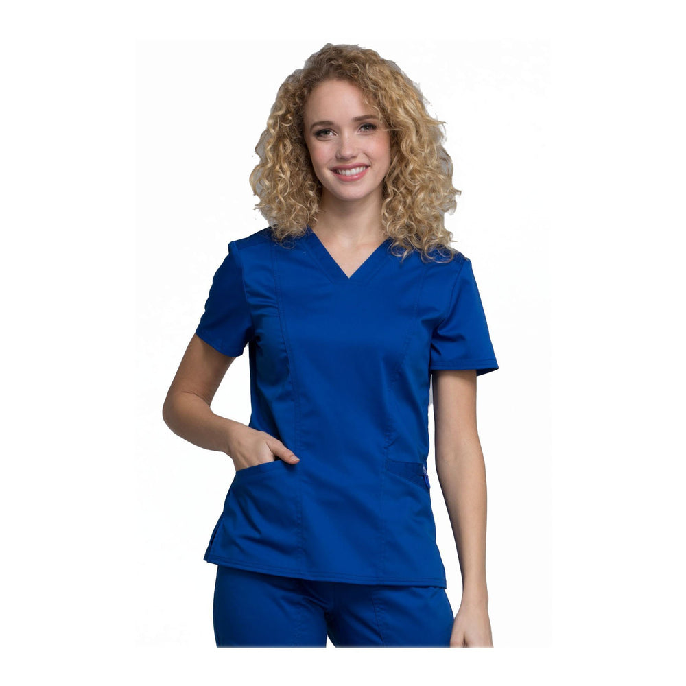 Cherokee Scrubs Workwear WW710 WW Revolution Top Modern Classic Galaxy Blue Top