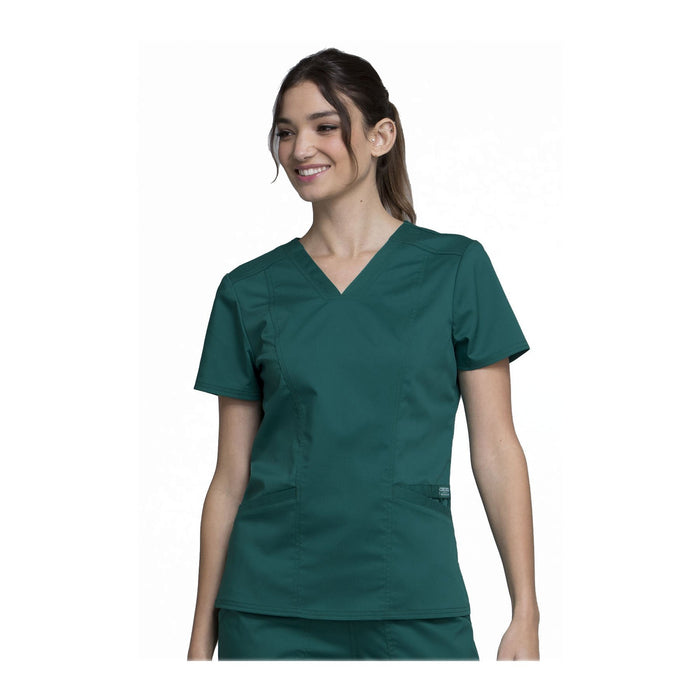 Cherokee Scrubs Workwear WW710 WW Revolution Top Modern Classic Hunter Green Top