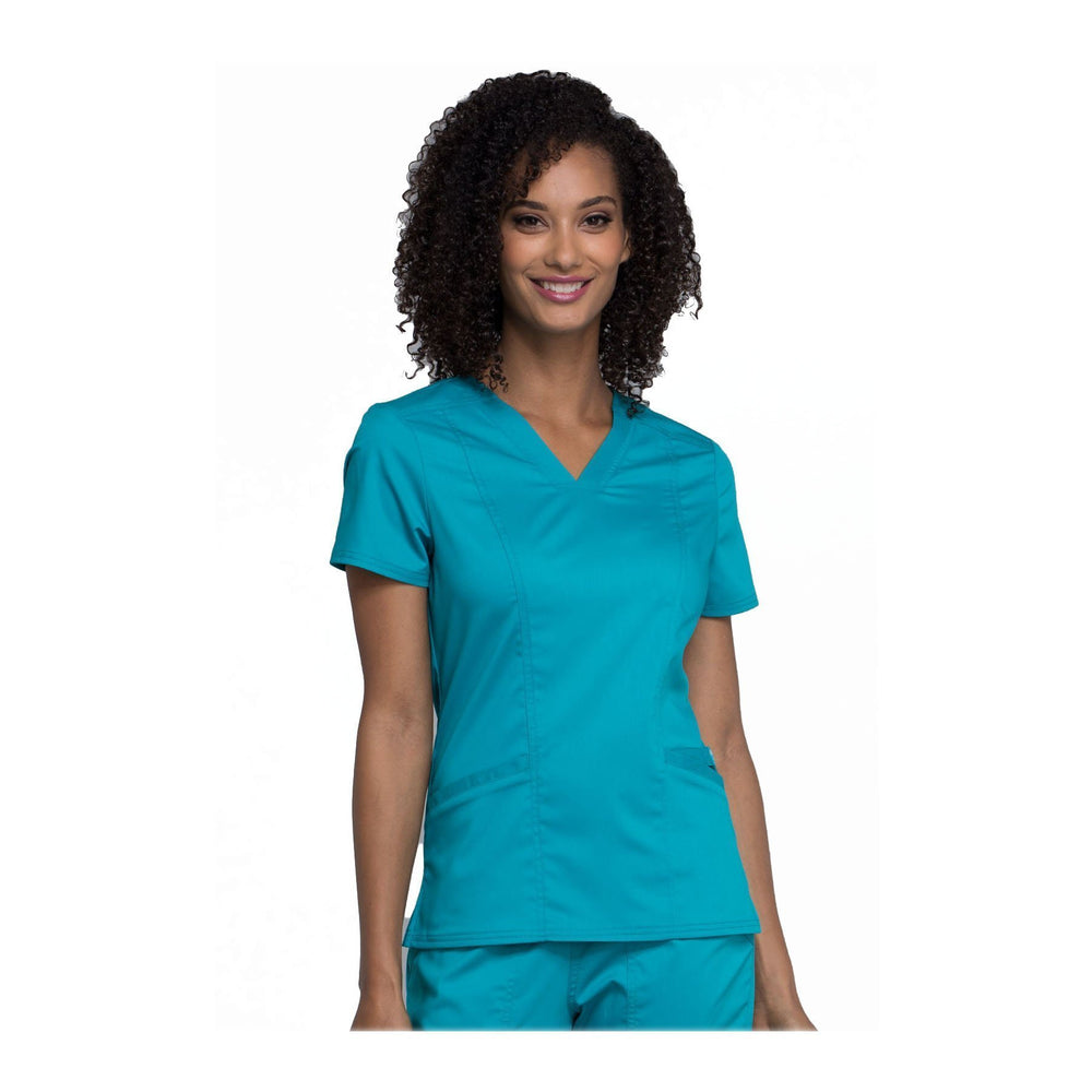 Cherokee Scrubs Workwear WW710 WW Revolution Top Modern Classic Teal Top