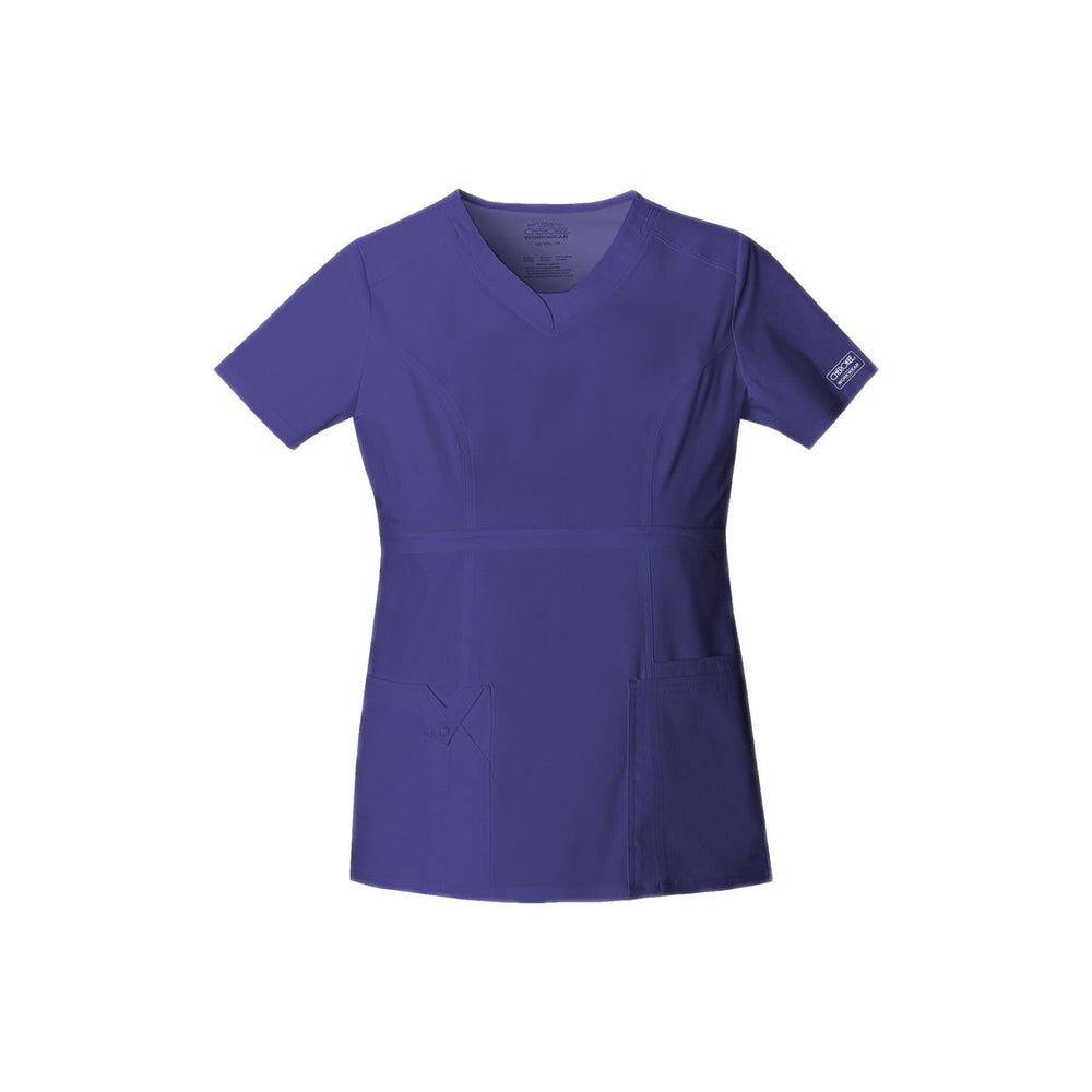 Cherokee Workwear Top WW Core Stretch Contemporary Fit V-Neck Top Grape Top