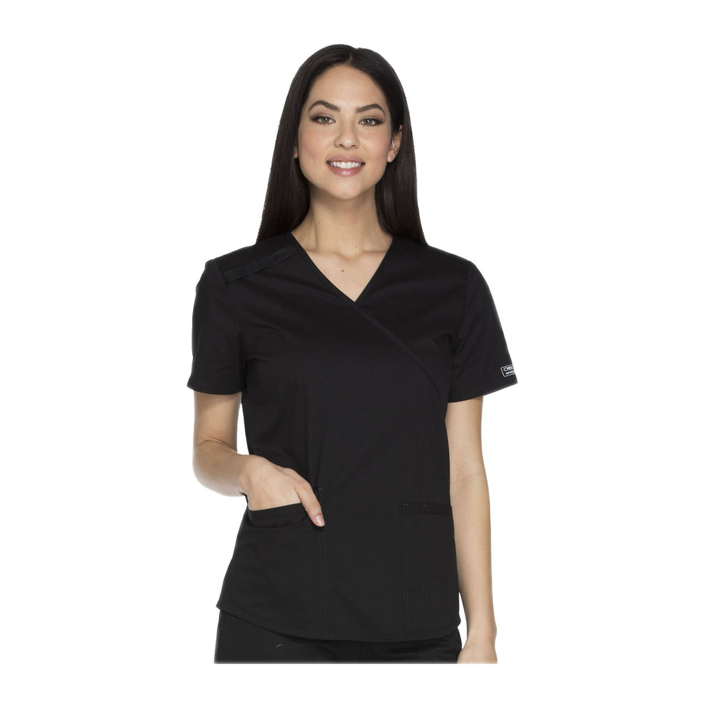 Cherokee Workwear Top WW Core Stretch Mock Wrap Top Black Top