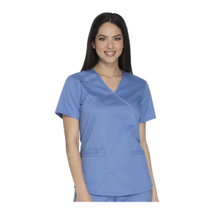 Cherokee Workwear Top WW Core Stretch Mock Wrap Top Ciel Top