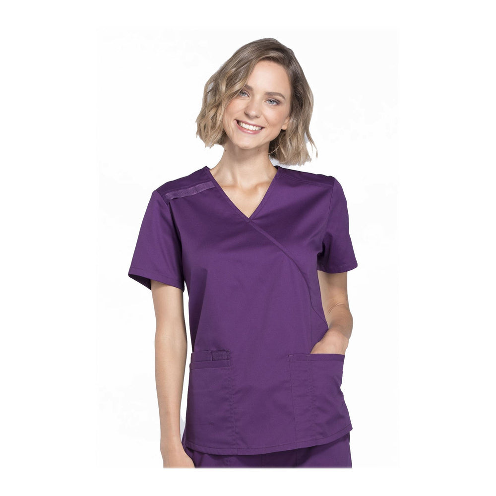 Cherokee Scrubs Workwear Top WW Core Stretch Mock Wrap Top Eggplant Top