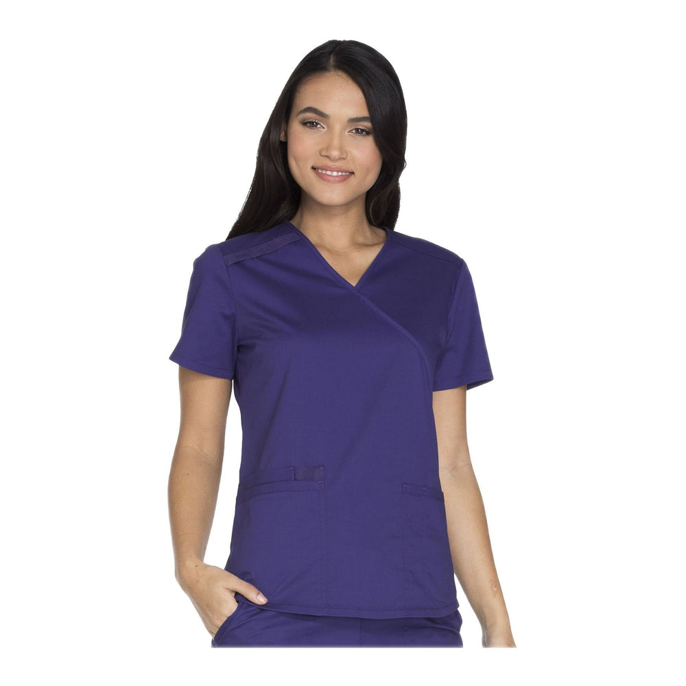 Cherokee Workwear Top WW Core Stretch Mock Wrap Top Grape Top