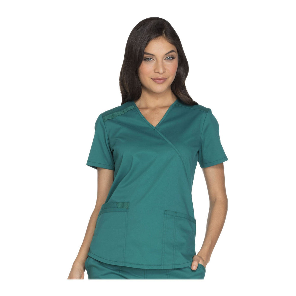 Cherokee Workwear Top WW Core Stretch Mock Wrap Top Hunter Top
