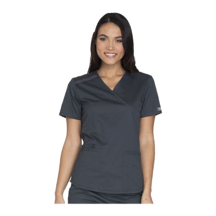 Cherokee Workwear Top WW Core Stretch Mock Wrap Top Pewter Top