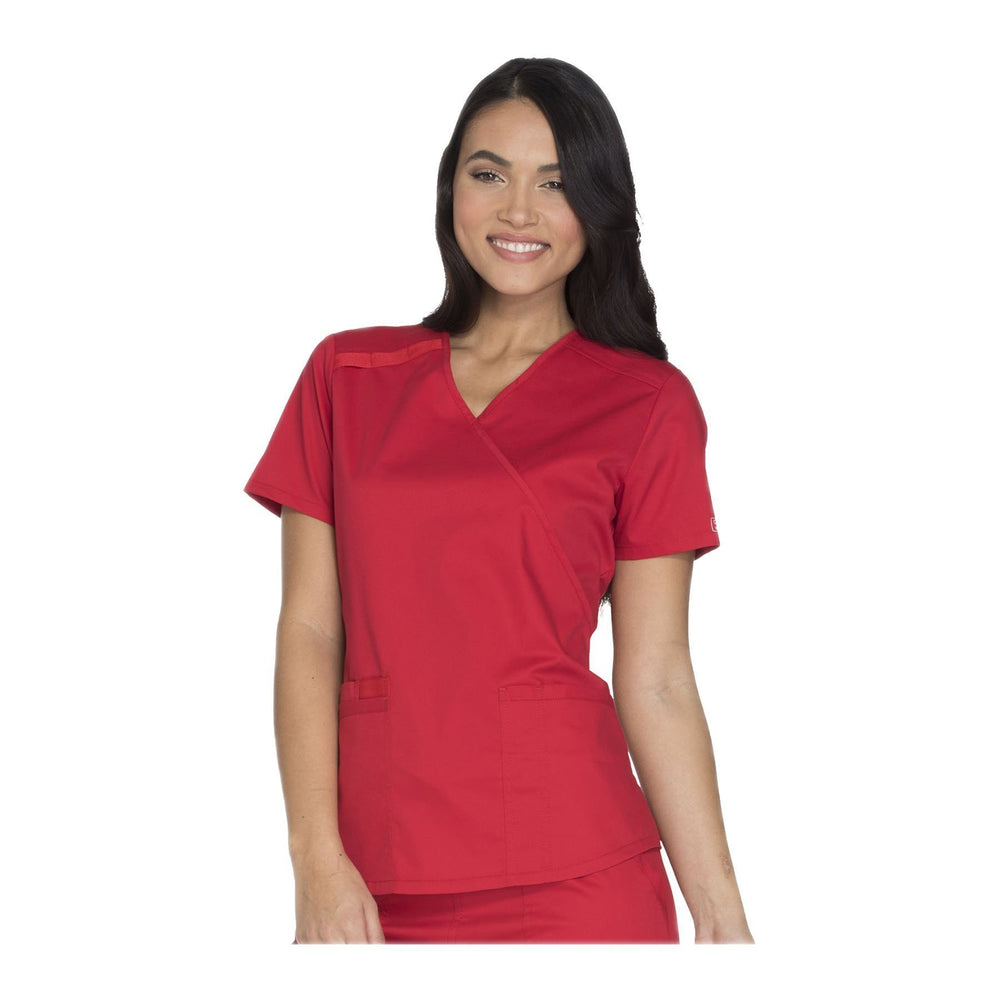 Cherokee Scrubs Workwear Top WW Core Stretch Mock Wrap Top Red Top