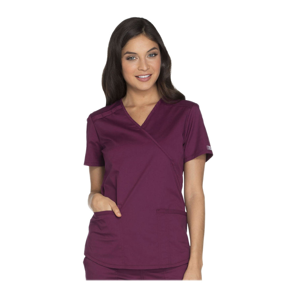 Cherokee Workwear Top WW Core Stretch Mock Wrap Top Wine Top