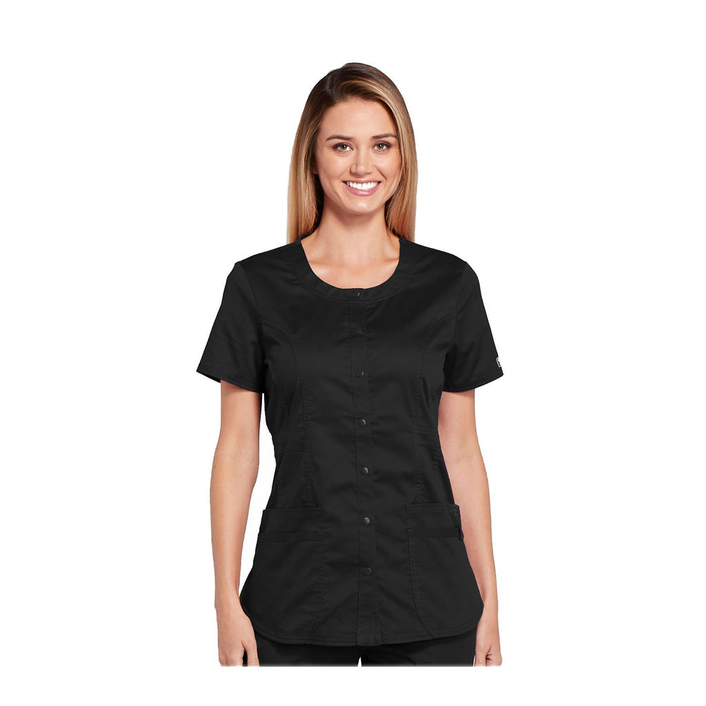 Cherokee Workwear Top WW Core Stretch Round Neck Top Black Top