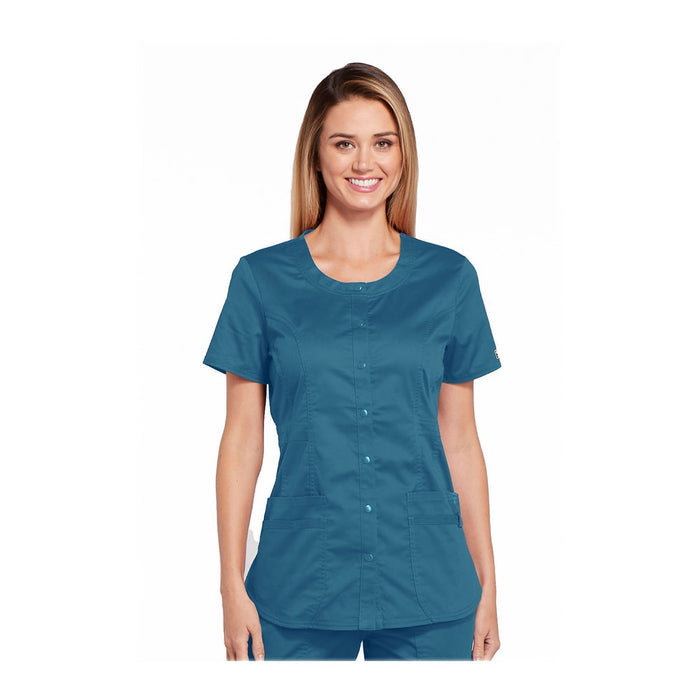 Cherokee Workwear Top WW Core Stretch Round Neck Top Caribbean Blue Top