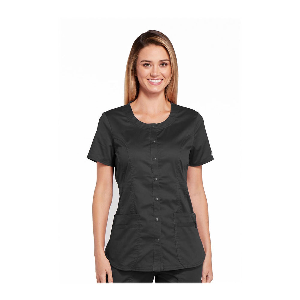 Cherokee Workwear Top WW Core Stretch Round Neck Top Pewter Top