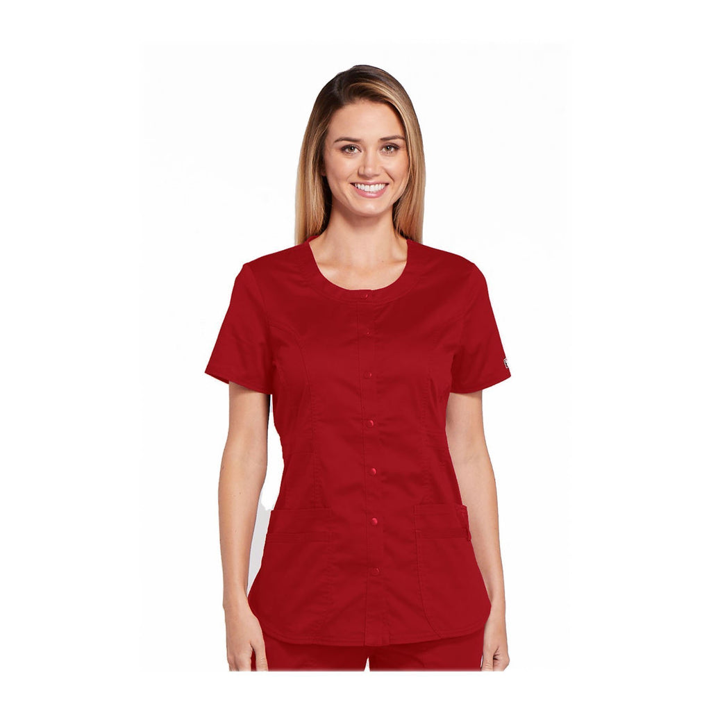 Cherokee Workwear Top WW Core Stretch Round Neck Top Red Top