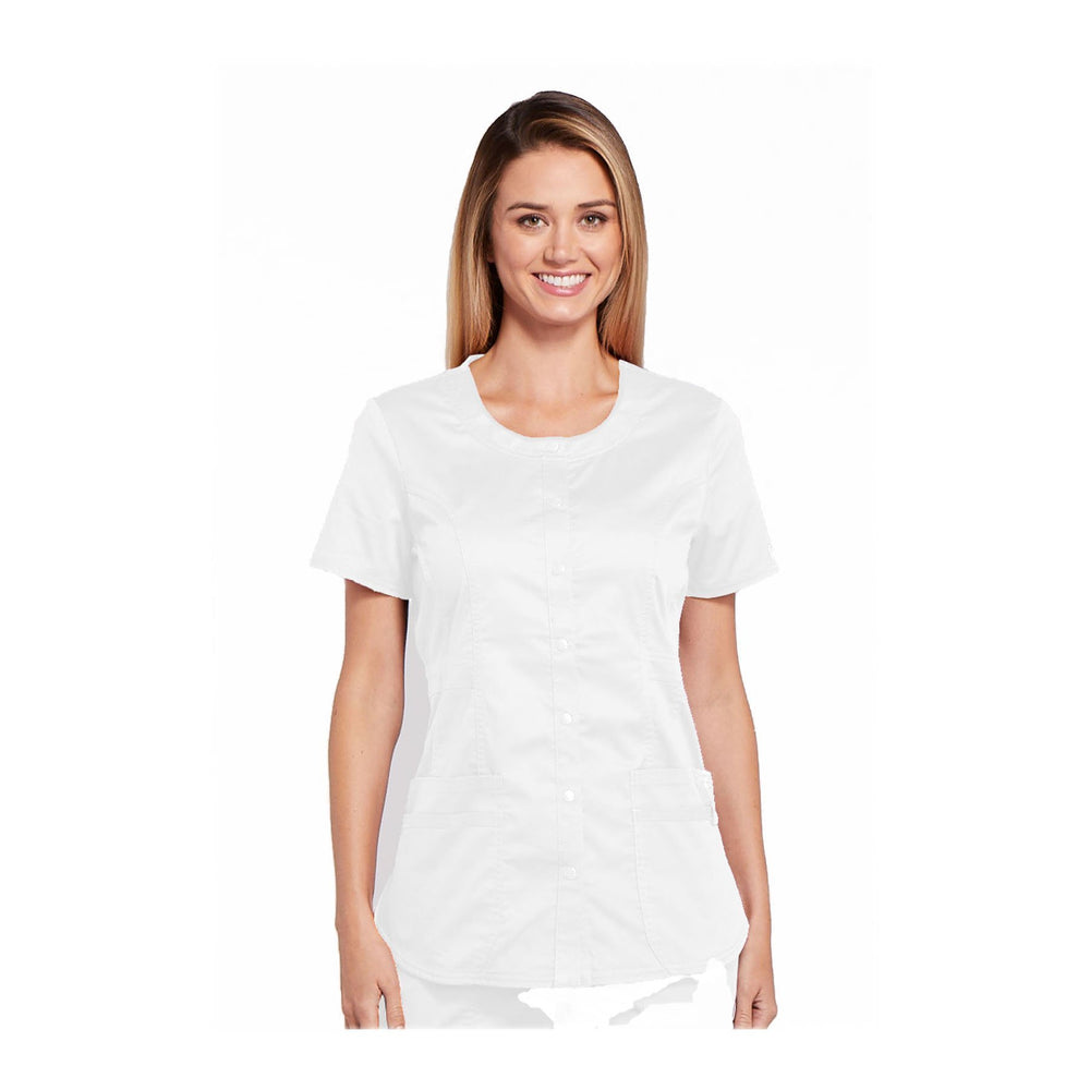Cherokee Workwear Top WW Core Stretch Round Neck Top White Top