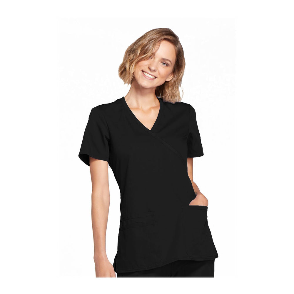 Cherokee Workwear Top WW Mock Wrap Top Black Top