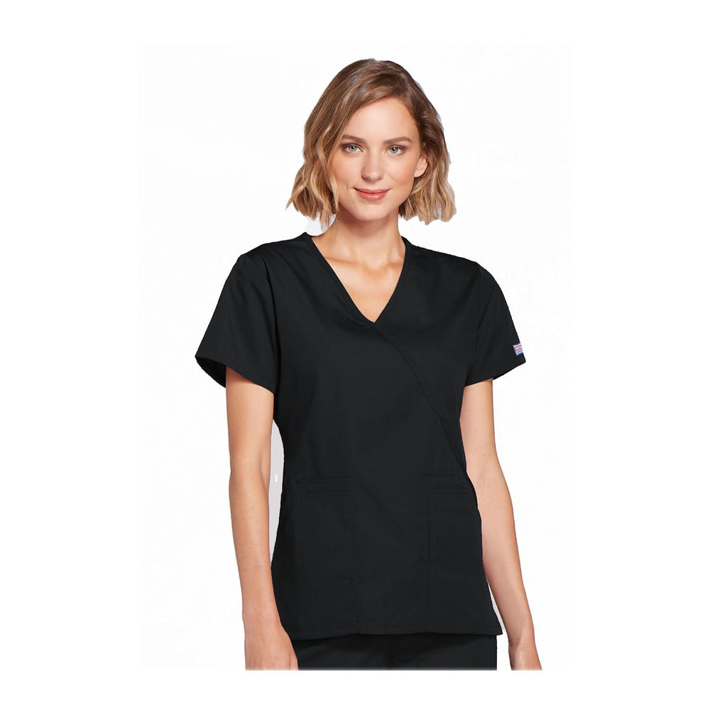 Cherokee Scrubs Workwear Top WW Mock Wrap Top Black Top