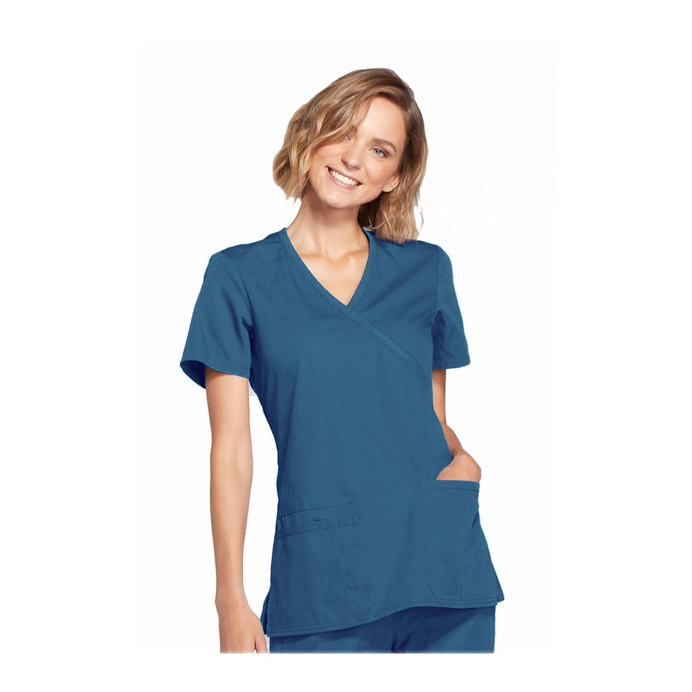 Cherokee Workwear Top WW Mock Wrap Top Caribbean Blue Top