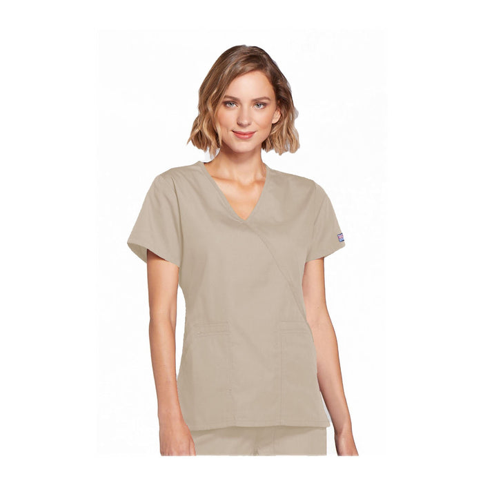 Cherokee Workwear Top WW Mock Wrap Top Khaki Top