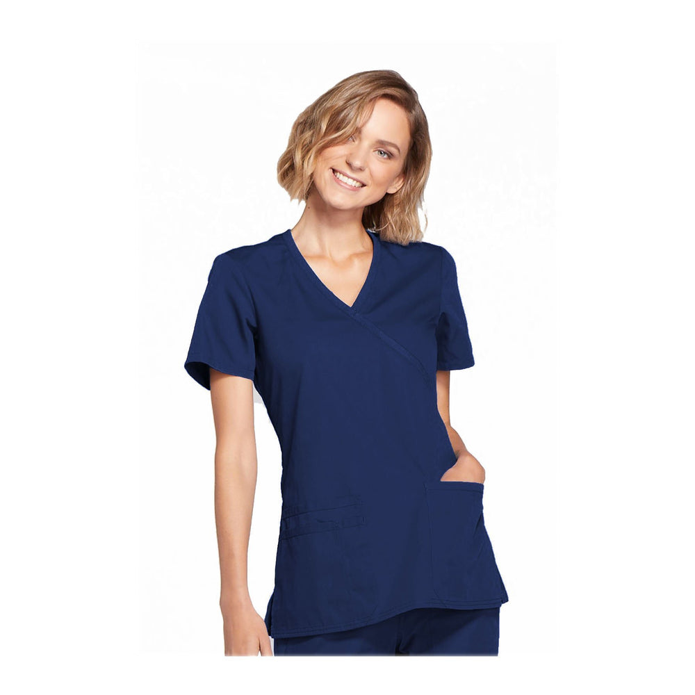 Cherokee Workwear Top WW Mock Wrap Top Navy Top