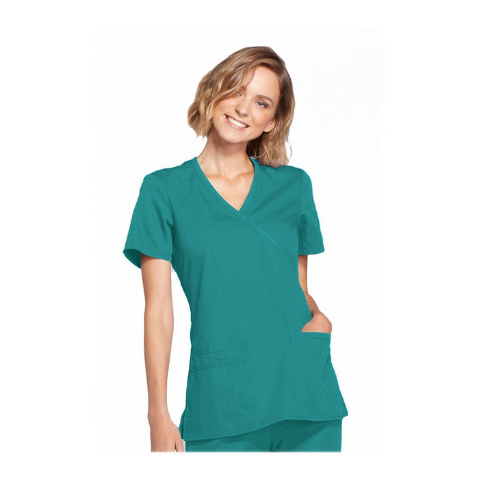 Cherokee Workwear Top WW Mock Wrap Top Teal Top