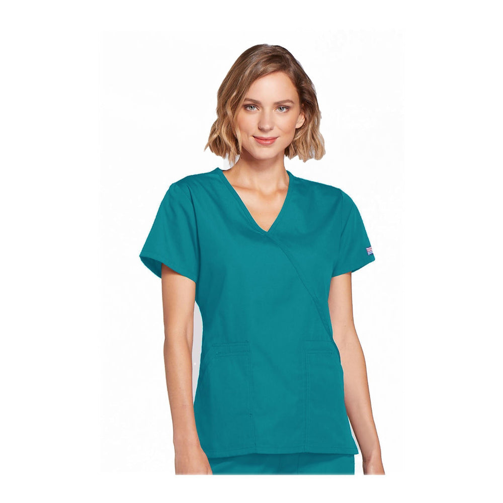 Cherokee Scrubs Workwear Top WW Mock Wrap Top Teal Top