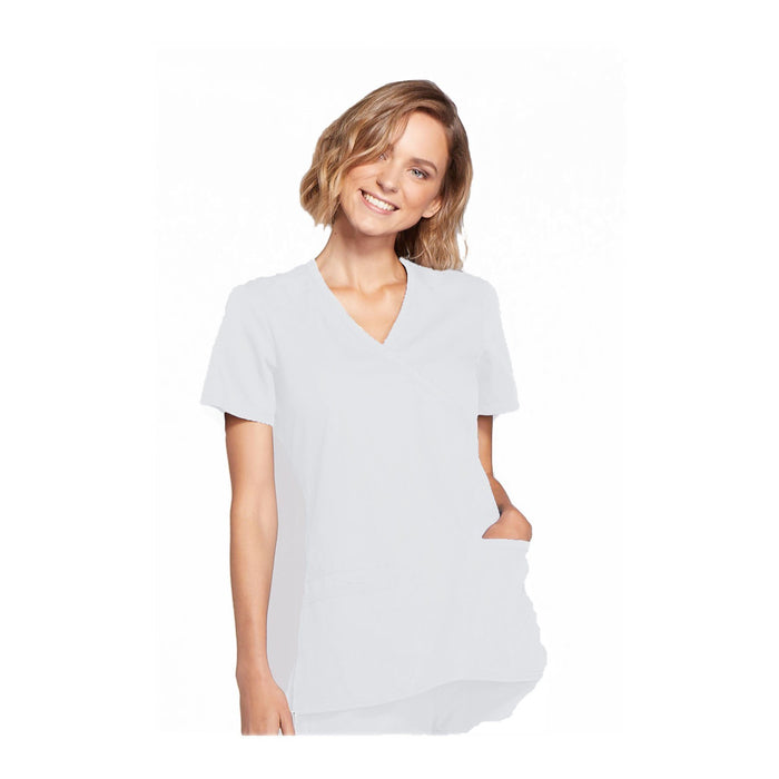 Cherokee Workwear Top WW Mock Wrap Top White Top