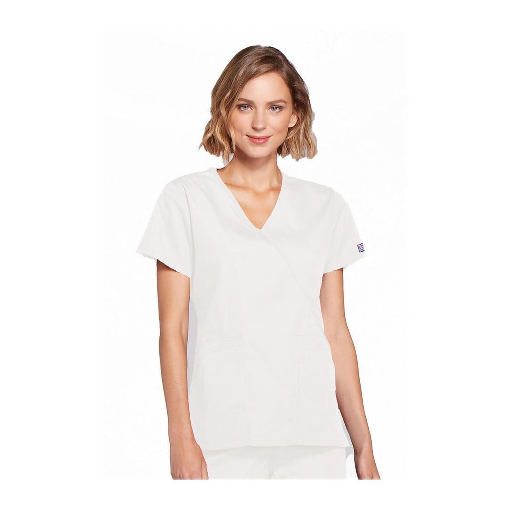 Cherokee Scrubs Workwear Top WW Mock Wrap Top White Top