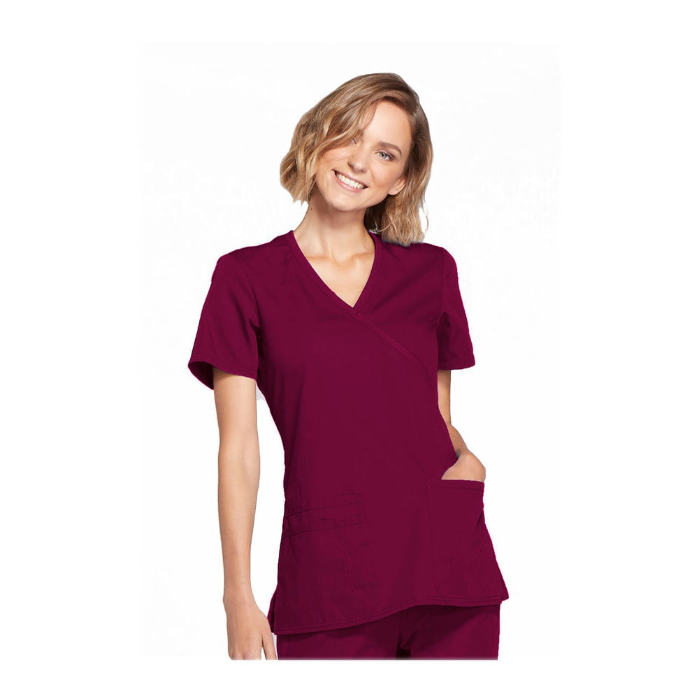 Cherokee Workwear Top WW Mock Wrap Top Wine Top