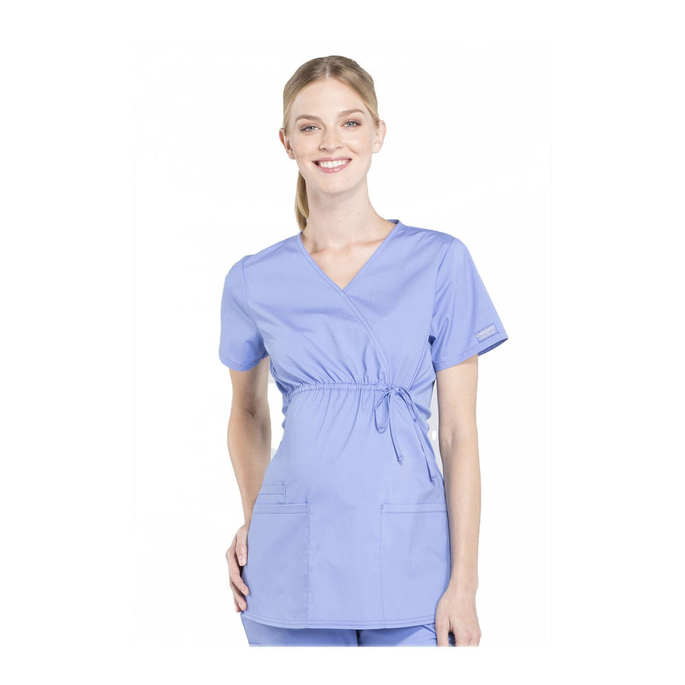 Cherokee Workwear Top WW Professionals Maternity Mock Wrap Top Ciel Blue Top