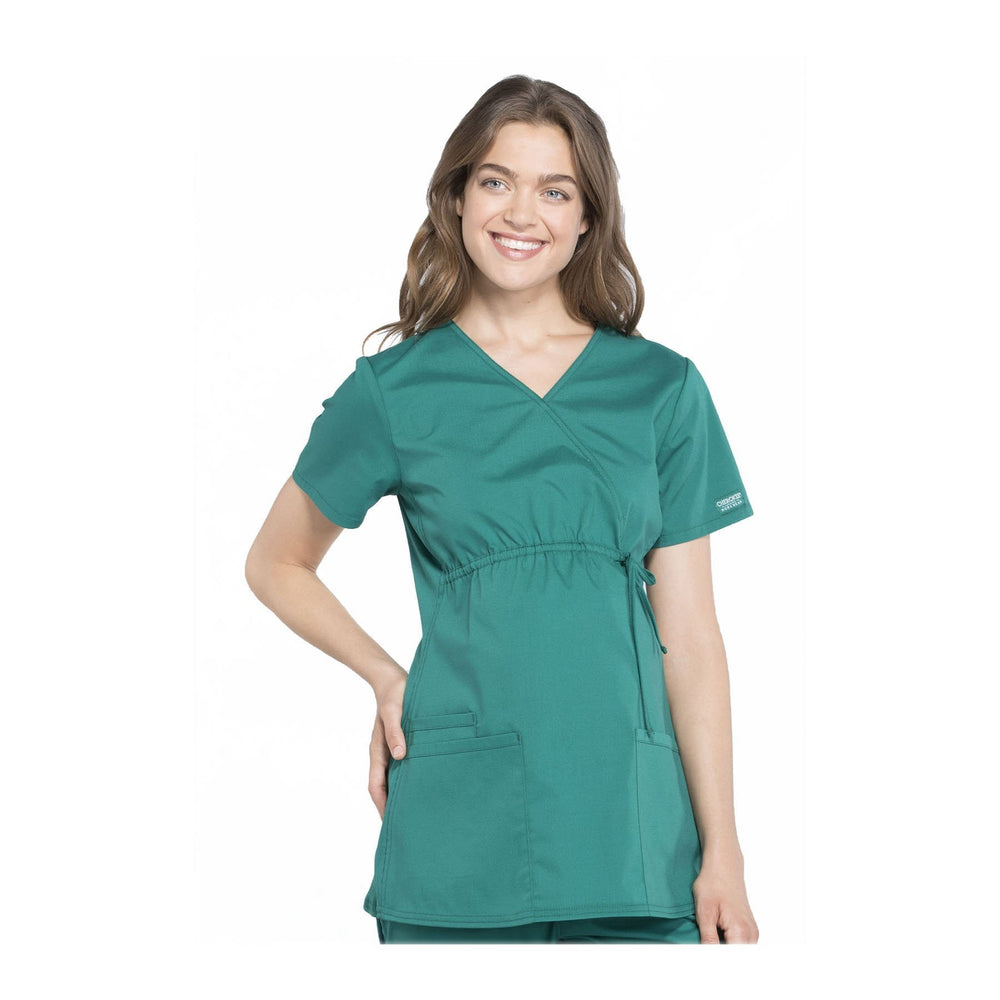 Cherokee Workwear Top WW Professionals Maternity Mock Wrap Top Hunter Green Top