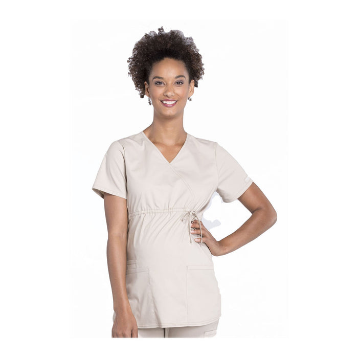 Cherokee Workwear Top WW Professionals Maternity Mock Wrap Top Khaki Top