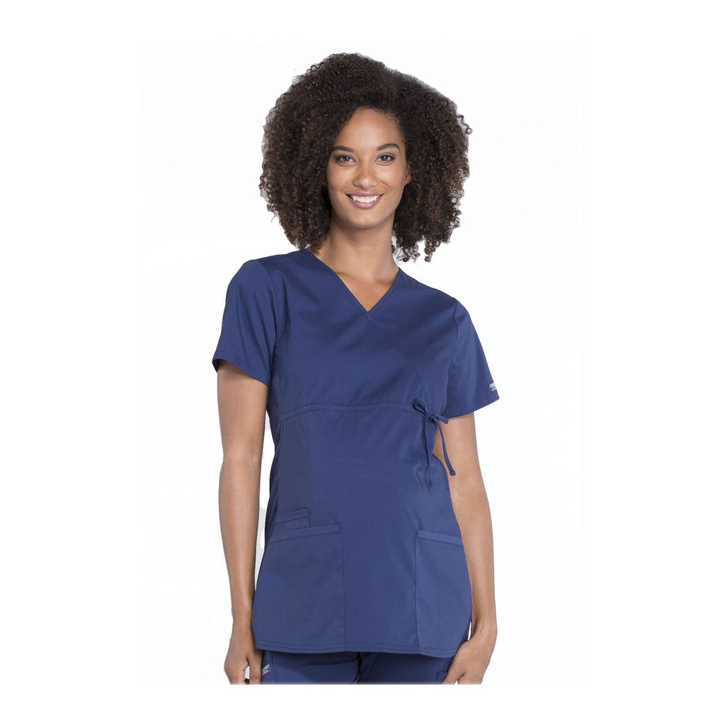 Cherokee Workwear Top WW Professionals Maternity Mock Wrap Top Navy Top