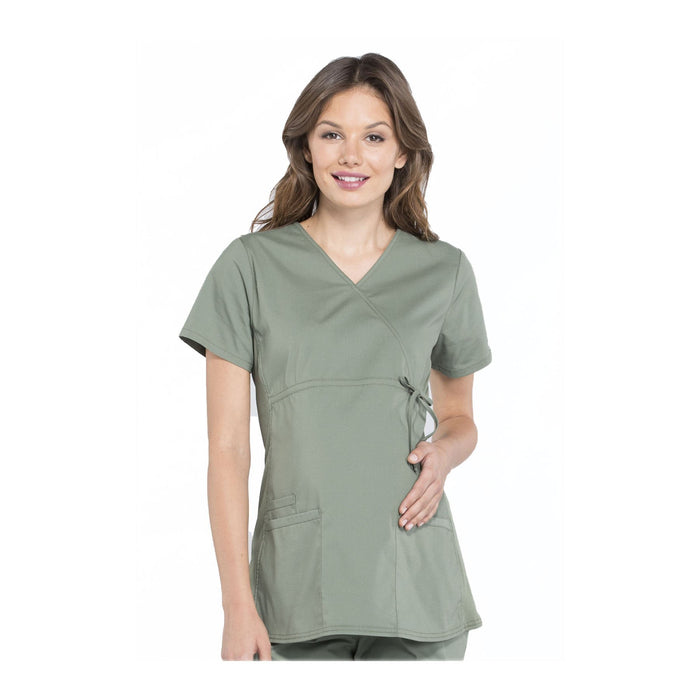 Cherokee Workwear Top WW Professionals Maternity Mock Wrap Top Olive Top