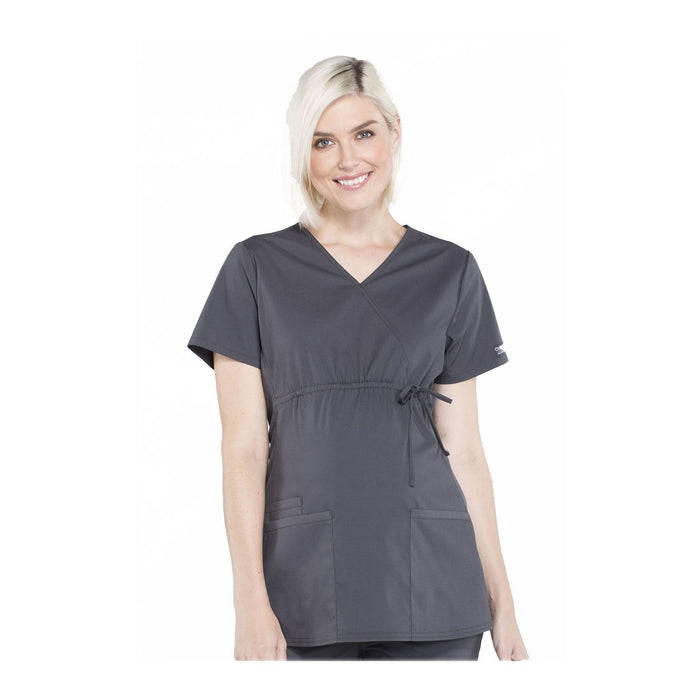 Cherokee Workwear Top WW Professionals Maternity Mock Wrap Top Pewter Top