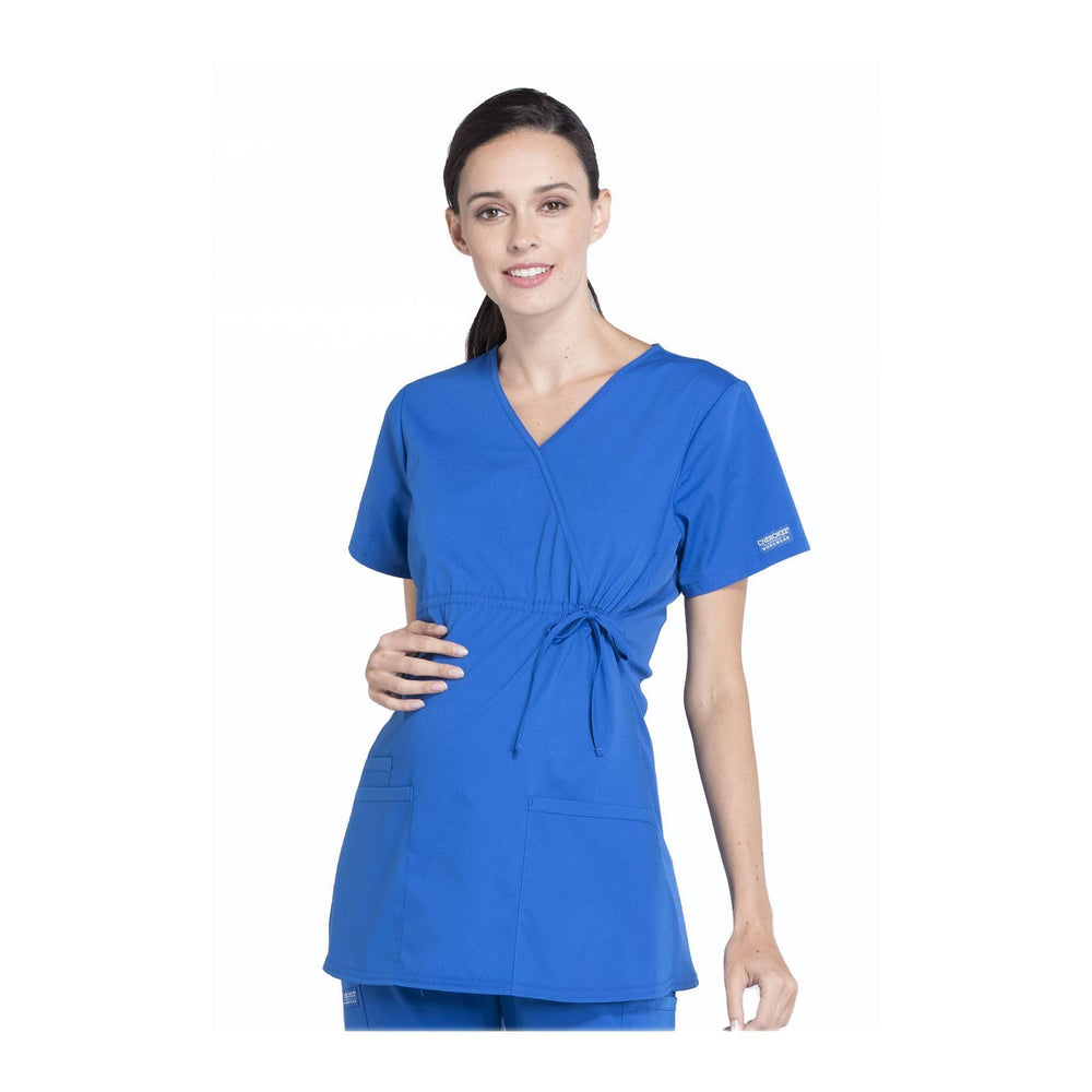 Cherokee Workwear Top WW Professionals Maternity Mock Wrap Top Royal Top