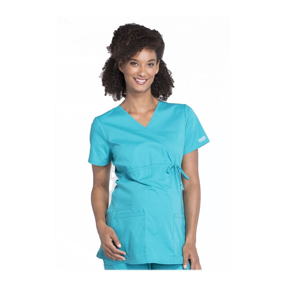 Cherokee Workwear Top WW Professionals Maternity Mock Wrap Top Teal Top