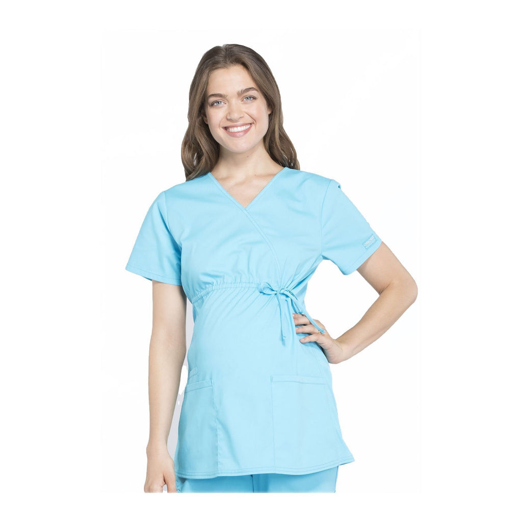 Cherokee Workwear Top WW Professionals Maternity Mock Wrap Top Turquoise Top