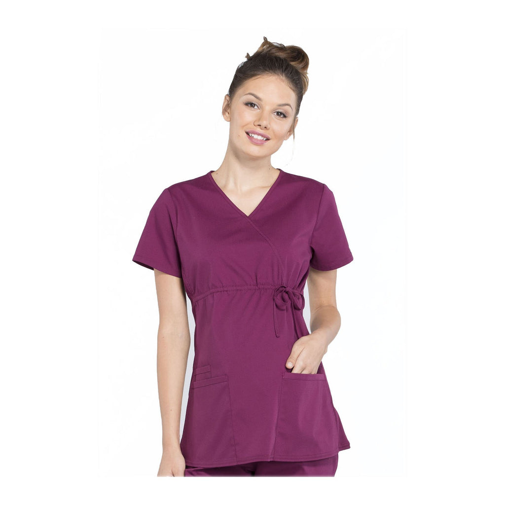 5c53a11089e Cherokee Workwear Top WW Professionals Maternity Mock Wrap Top Wine Top